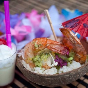 Padre Rita Grill represents at the World's Championship Shrimp Cook-Off with a grilled chimichurri shrimp with lime & cilantro rice. Served with a non-alcoholic piña colada.    . See more here: http://www.facebook.com/portisabeltx