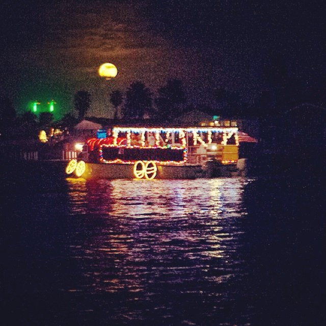 28th Annual Christmas Lighted Boat Parade and a full moon! Gulf Intracoastal Waterway. #christmaslightedboatparade #texastodo #portisabel