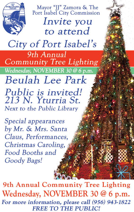9th Annual Community Christmas Tree Lighting Ceremony 11/30 6 - 9 p.m. Beulah Lee Park. No admission charge. The public is invited.