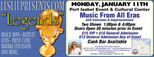 Leslie Blasing to perform at the Port Isabel Event & Cultural Center on January 11.
