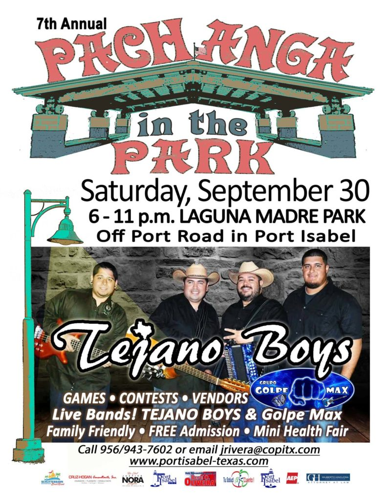 7th Annual Pachanga in the Park. New location: Laguna Madre Park. Sat. 9/30. 6-11p.
