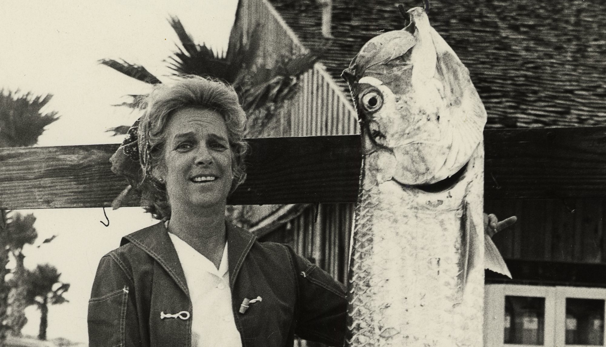 Bobby Wells with her tournament winning Tarpon in 1972. Wells reports that it took an hour and a half to boat the silver king.