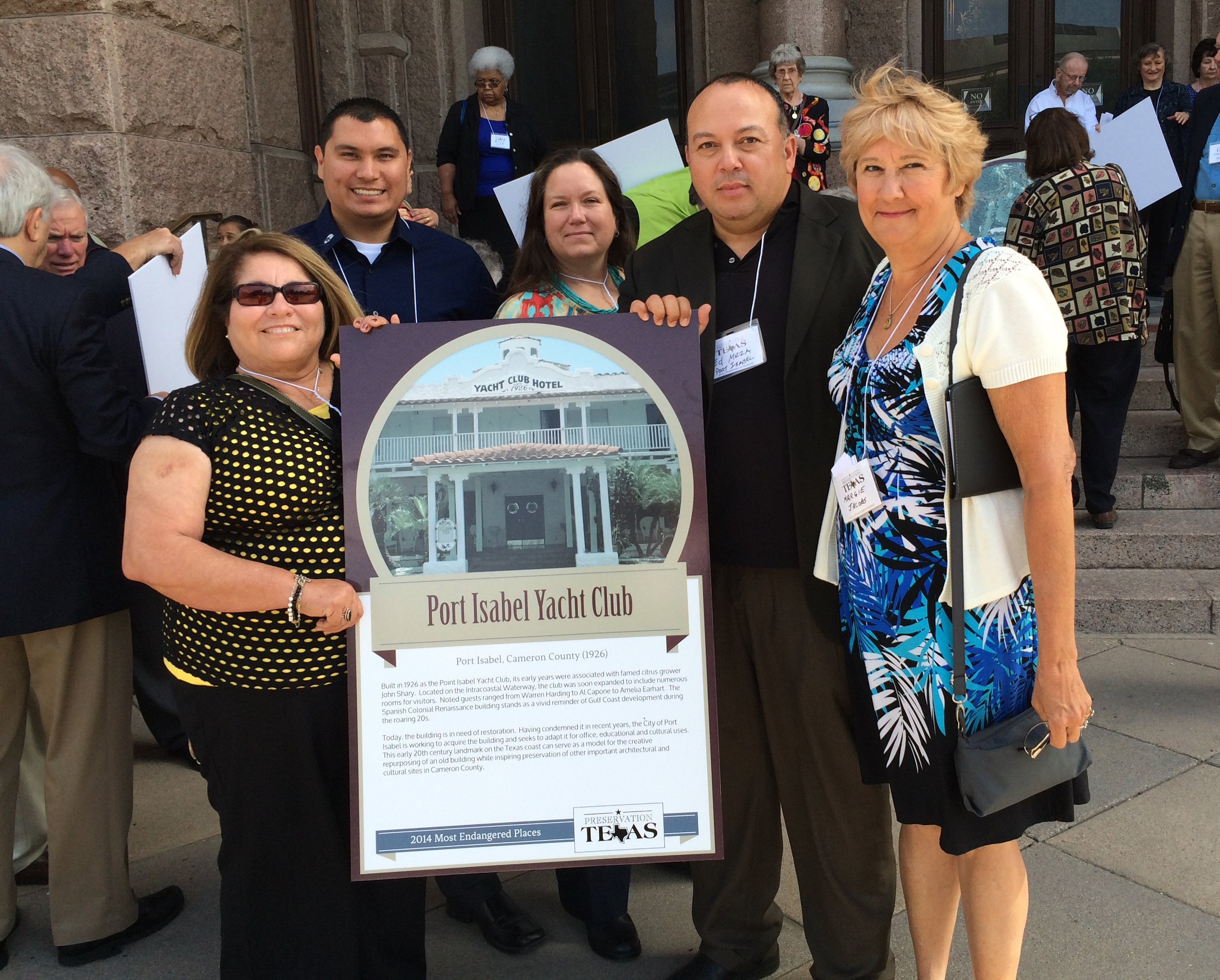 Port Isabel Delegation To Austin Accept Preservation Texas Award For The Yacht Club Hotel